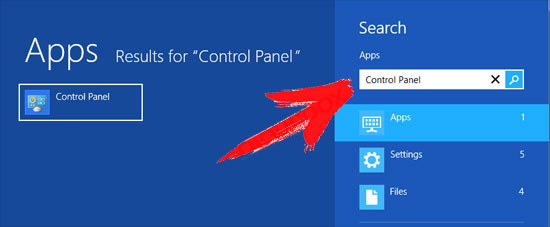 win8-control-panel-search Arrow